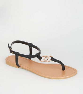 Black Faux Snake Ring Strap Flat Sandals