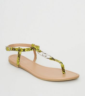 Yellow Faux Snake Ring Strap Flat Sandals