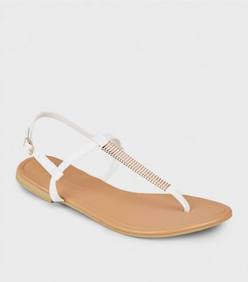 Wide Fit White Bar Strap Flat Sandals