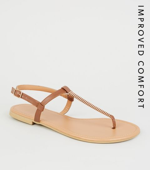 324ce5faedac ... Wide Fit Stone Bar Strap Flat Sandals ...