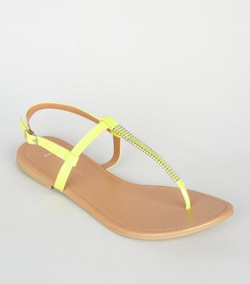 Wide Fit Yellow Neon Bar Strap Flat Sandals