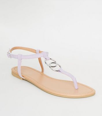 Lilac Ring Strap Flat Sandals