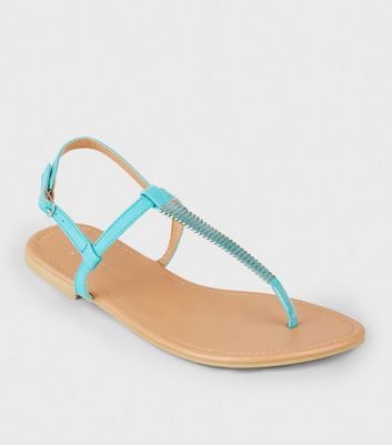 Wide Fit Turquoise Bar Strap Flat Sandals