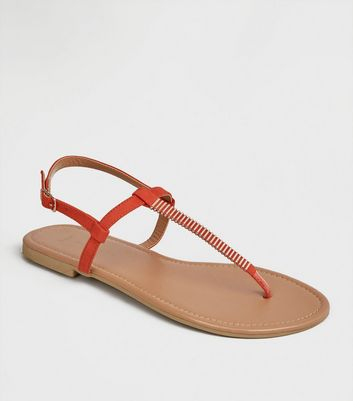 Wide Fit Orange Bar Strap Flat Sandals