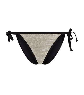5f5c23ada8654 Gold Glitter Tie Side Bikini Bottoms. Add to Saved Items
