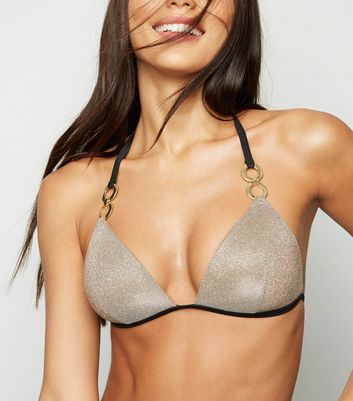 Gold Glitter Moulded Triangle Bikini Top