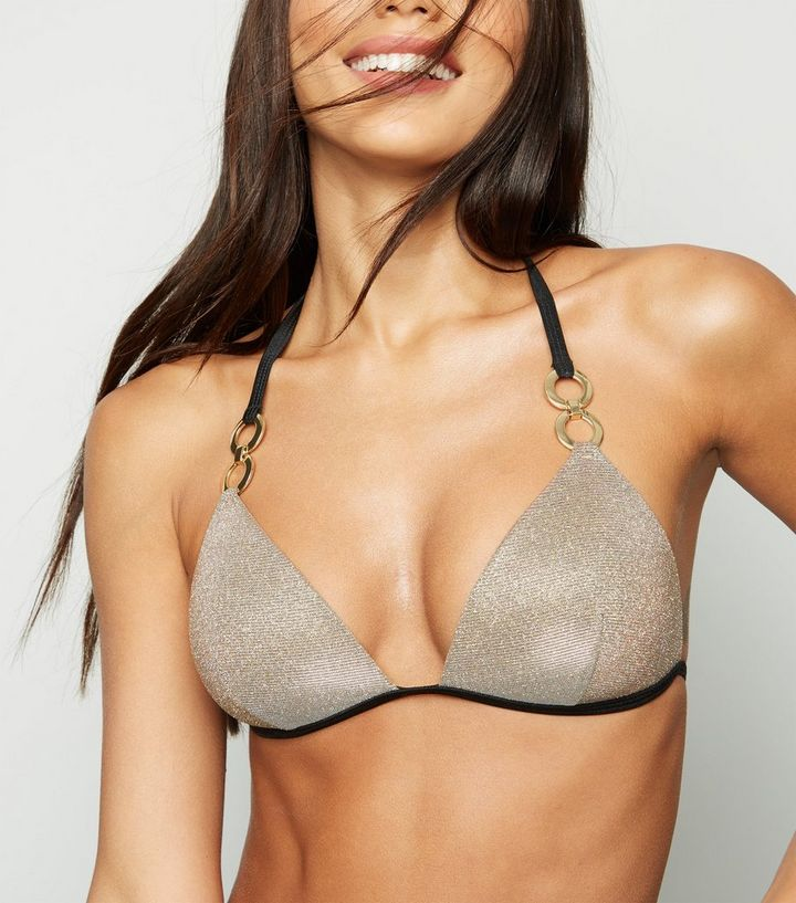 2c1bc92b672c5 Gold Glitter Moulded Triangle Bikini Top. Add to Saved Items