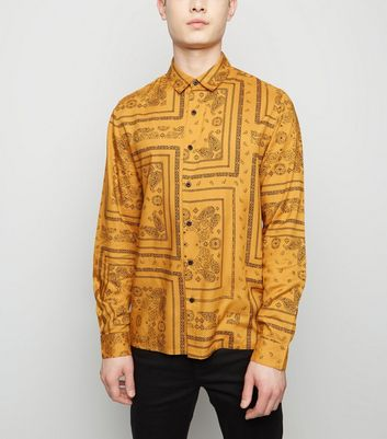 Yellow Paisley Print Long Sleeve Shirt
