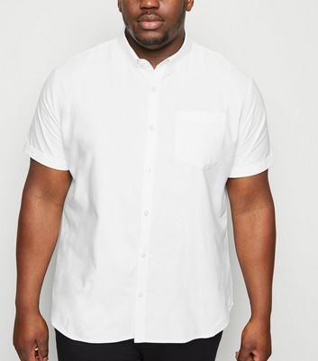 Plus Size White Short Sleeve Oxford Shirt