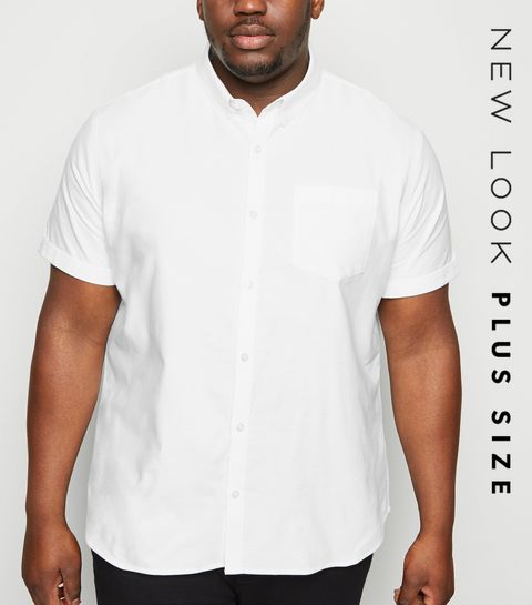 59fb6296821 ... Plus Size White Short Sleeve Oxford Shirt ...