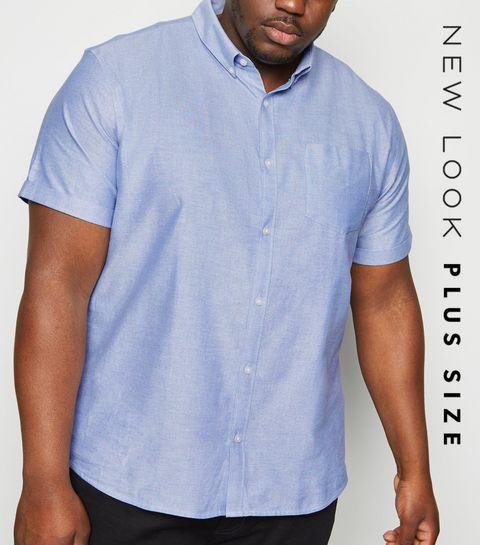 9fc3a7bc2b7 ... Plus Size Pale Blue Short Sleeve Oxford Shirt ...