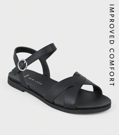 6e2ef1ea8 ... Wide Fit Black Leather-Look Footbed Sandals ...