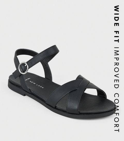 3af8ed43d ... Wide Fit Black Leather-Look Footbed Sandals ...