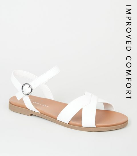 04e63f0ecb5 ... Wide Fit White Leather-Look Footbed Sandals ...