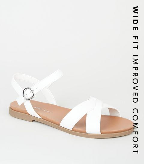 01e9de4b83dd ... Wide Fit White Leather-Look Footbed Sandals ...