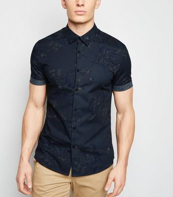 Grey Floral Muscle Fit Shirt