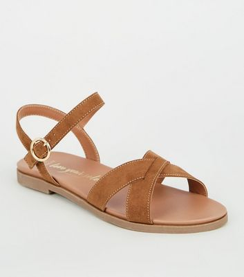 Wide Fit Tan Cross Strap Footbed Sandals