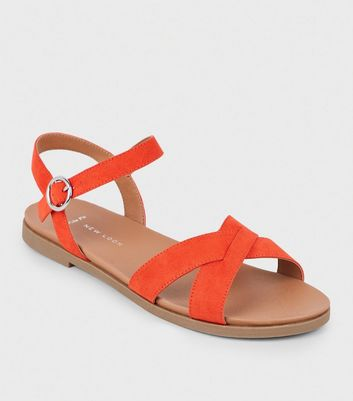 Wide Fit Red Cross Strap Footbed Sandals
