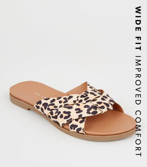 064088f6b6a7 ... Wide Fit Stone Leopard Print Woven Footbed Sliders ...