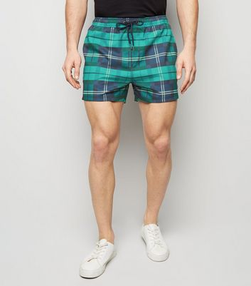 Green Check Print Swimming Shorts