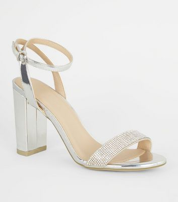 Silver Diamanté Strap Block Heel Sandals
