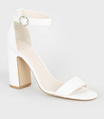 Off White Satin Block Heel Sandals