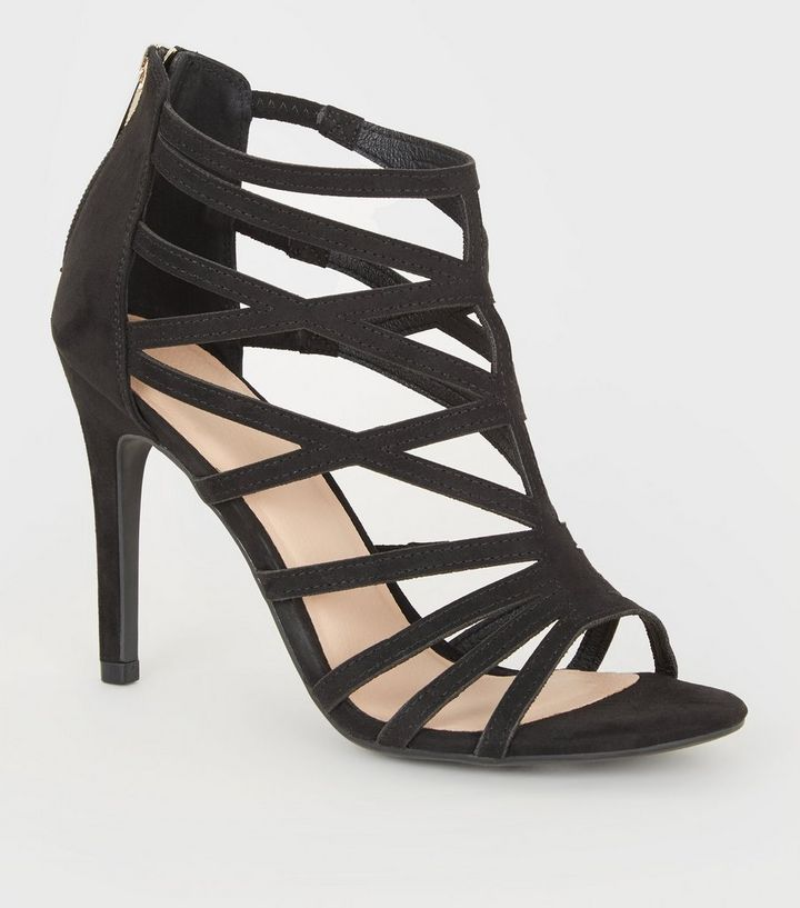 7f338bb6c51 Black Suedette Cut Out Zip Back Heels Add to Saved Items Remove from Saved  Items