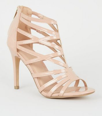 Nude Patent Caged High Vamp Stiletto Heels