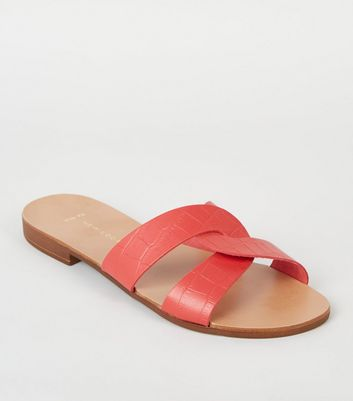 Wide Fit Red Leather Interlocked Faux Croc Sliders