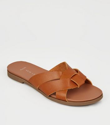 Wide Fit Tan Leather-Look Footbed Sliders