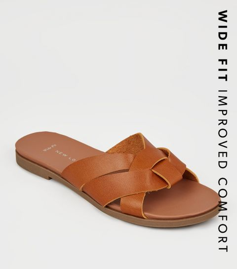 c0da216a7 ... Wide Fit Tan Leather-Look Footbed Sliders ...