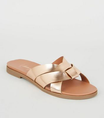 Wide Fit Rose Gold Footbed Sliders