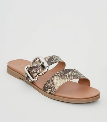Wide Fit Stone Faux Snake Footbed Sliders
