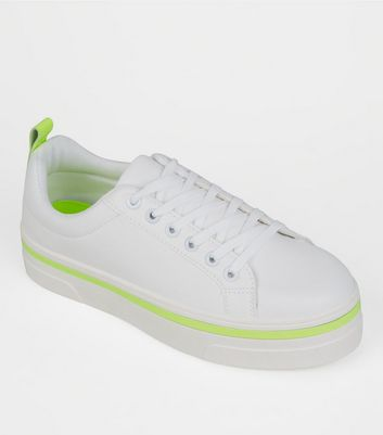 White Neon Trim Lace Up Trainers