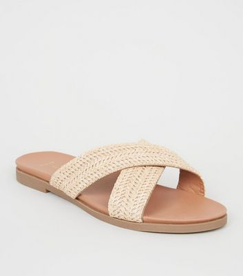 Wide Fit Camel Straw Effect Footbed Sliders