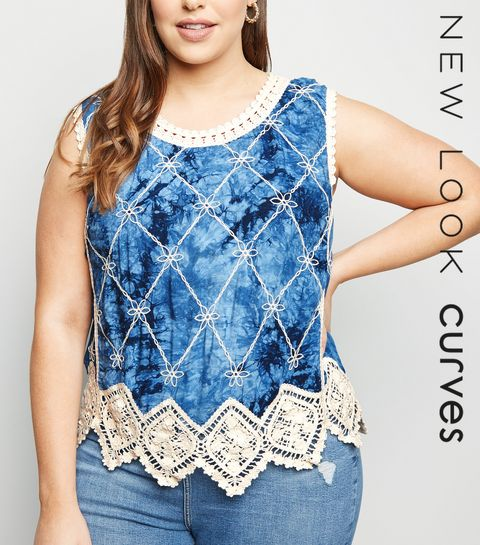 08f8114a8de ... Curves Blue Tie Dye Crochet Top ...