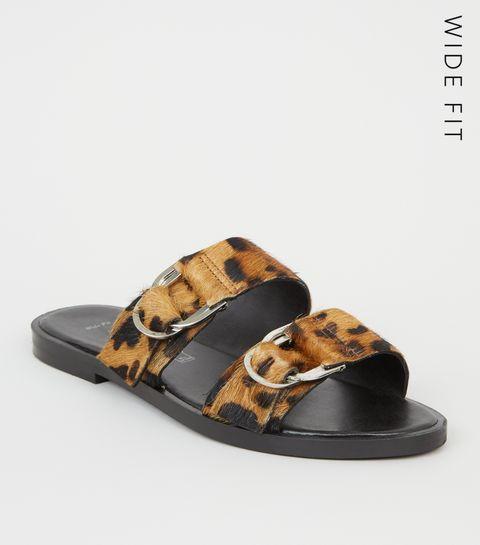 683db54077b ... Wide Fit Brown Leather Faux Leopard Fur Sliders ...