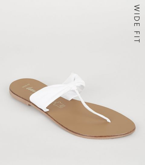ed75db91d66 ... Wide Fit White Leather Ruched Flip Flops ...
