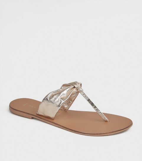 ec29a692f1db ... Wide Fit Gold Leather Ruched Flip Flops ...