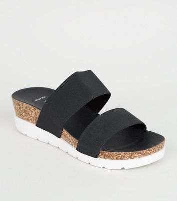 Wide Fit Black Cork Platform Sliders