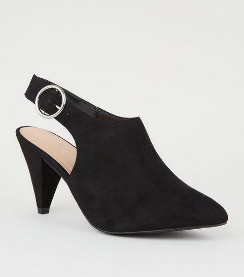 ... Wide Fit Black Suedette Cone Heel Shoe Boots ... f22eadedcca7