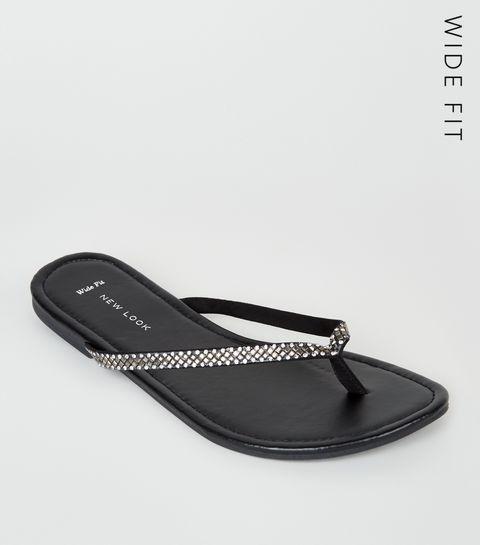 9dd6522e8761 ... Wide Fit Black Diamanté Embellished Flip Flops ...
