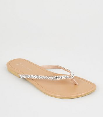 Wide Fit Nude Diamanté Embellished Flip Flops