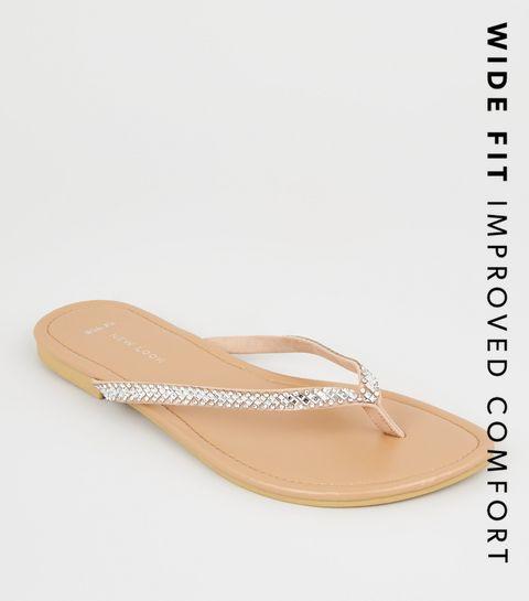 79503fe9702 ... Wide Fit Nude Diamanté Embellished Flip Flops ...