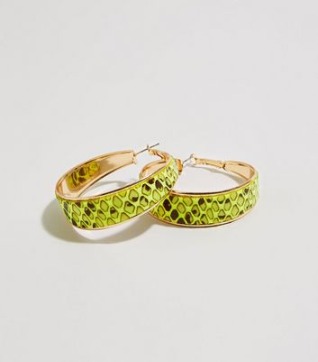 Yellow Neon Snake Print Hoop Earrings