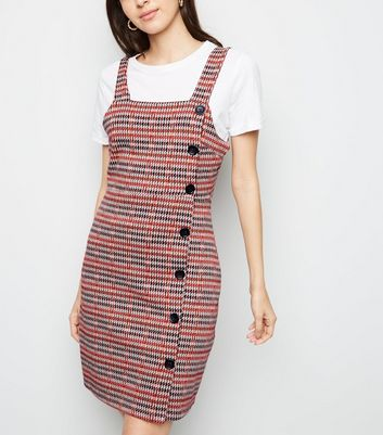 Rust Houndstooth Button Side Pinafore Dress