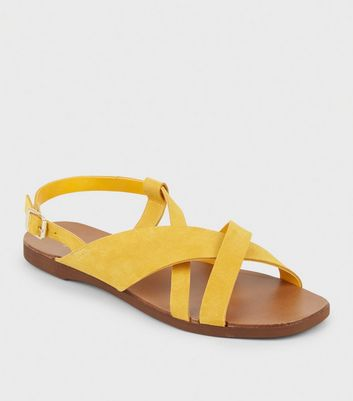 Wide Fit Mustard Suede Strappy Flat Sandals