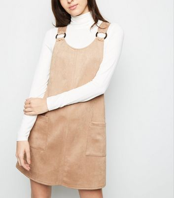 Stone Suedette Resin Ring Pinafore Dress