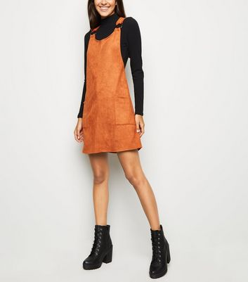 Rust Suedette Resin Ring Pinafore Dress