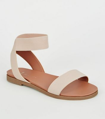 Wide Fit Nude Elastic Strap Footbed Sandals